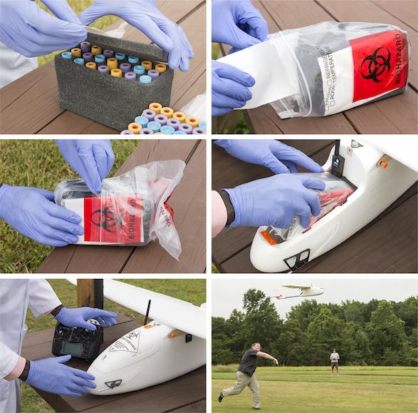 Processo de armazenamento das amostras e lançamento do drone.